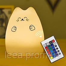 Силиконовый ночник «Котик с лапками» с пультом ДУ