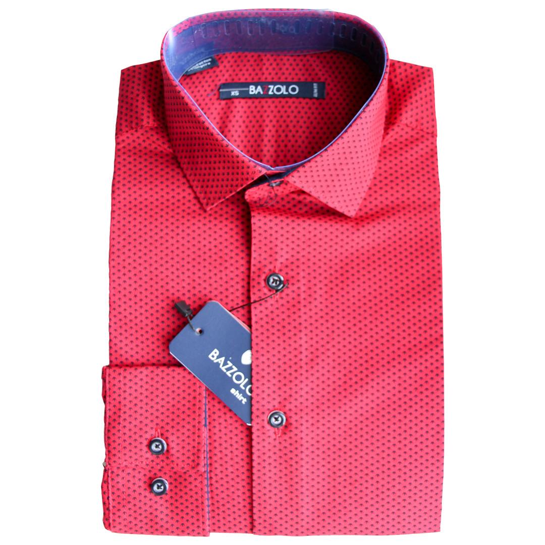 Яркая подростковая рубашка для мальчика Bazzolo с длинным рукавом приталенная красная