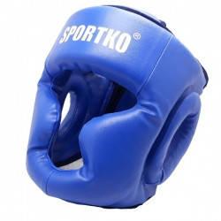 Защита для бокса. Защитный шлем - маска( кожвинил ) СИНИЙ.