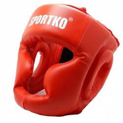 Боксерский защитный шлем - маска( кожвинил ) КРАСНЫЙ.