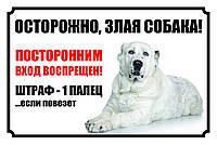 Табличка собака, осторожно собака, табличка с алабаем. Печать по предоплате