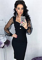 Платье футляр карандаш приталенное по фигуре вечернее ( выпускное ) миди до колена с декольте Цвет : Черный Размер : 42 44 46 48 Материал : Сетка