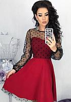Платье вечернее расклешенное ( клеш ) с прозрачным декольте с рукавами сетка ( выпускное ) Цвет : Красный Размер :  42 44 46 48 Материал : костюмный