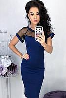 Платье вечернее ( выпускное ) футляр карандаш приталенное по фигуре с открытой спиной с прозрачным декольте Цвет : Синий Размер : 42 44 46 48 Материал