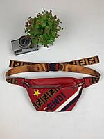 Сумка на пояс Бананка - Fendi - PU кожа - красная, фото 1