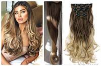 Волосы трессы на заколках ТЕРМО 7 прядей  омбре русый №8Т25 длина 50см