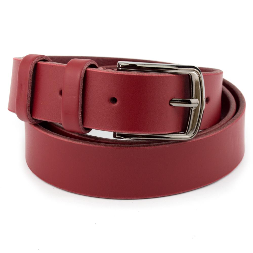 Ремень женский кожаный под джинсы красный KB-30 (120 см)