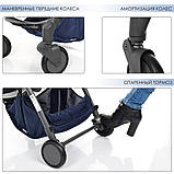 Детская прогулочная коляска. Материал рамы: сталь. Ткань лен. Вес 8.65 кг. EL Camino Breez ME 1029 Space Blue, фото 6