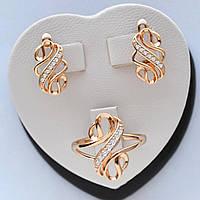 Комплект Серьги + кольцо 16 р, медзолото, медицинское золото