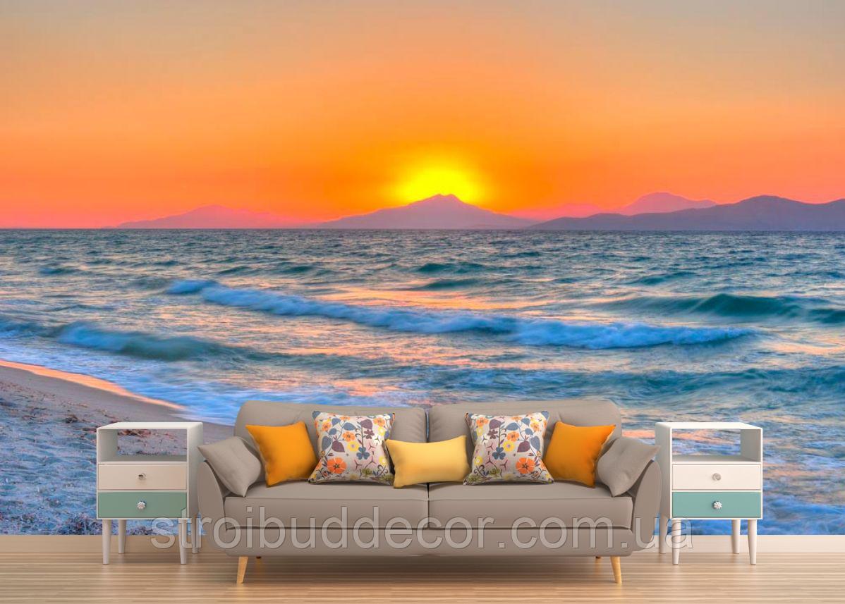 Глянцевые фотообои закат океан  разные текстуры , индивидуальный размер