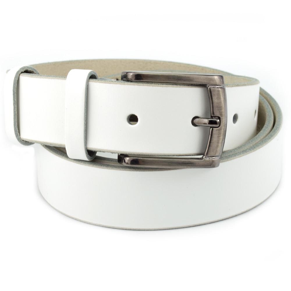Ремень мужской кожаный под брюки белый KB-35 (125 см)