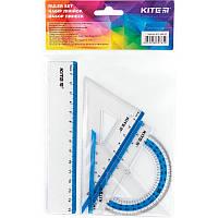 Набір: лінійка 15 см  2 косинця  транспортир (блакитна смуга) Kite К17-280-07