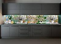 """Скинали на кухню Zatarga """"Цветы и Ягоды"""" 600х2500 мм белый виниловая 3Д наклейка кухонный фартук самоклеящаяся"""