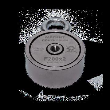 Поисковый магнит Пират F-200*2 Двухсторонний + Трос в подарок!, фото 2