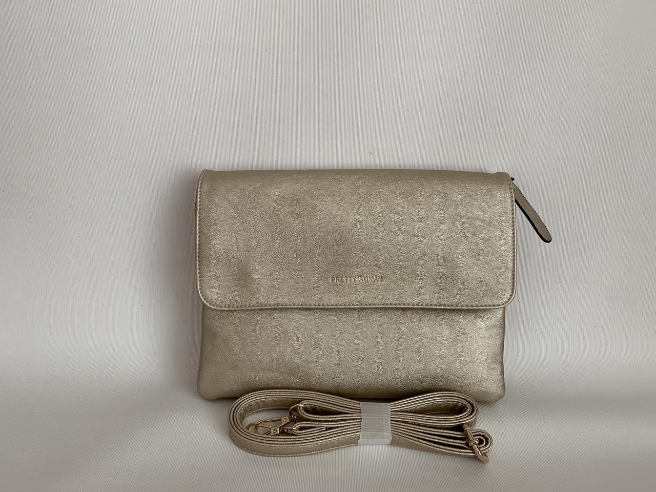 Женская золотистая сумка-клатч Pretty woman