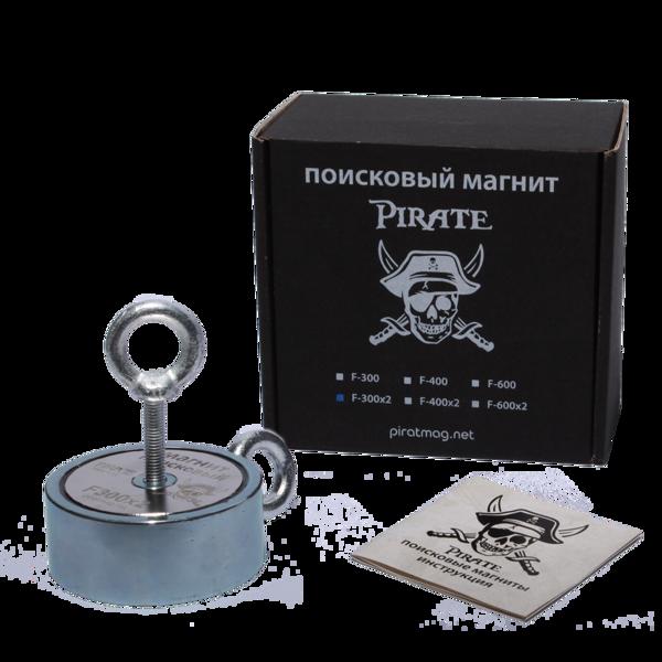 Поисковый магнит Пират F-300*2 Двухсторонний + Трос в подарок!
