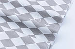 "Лоскут ткани ""Ромбы серо-белые Арлекин""  № 1891, размер 37*80 см, фото 5"