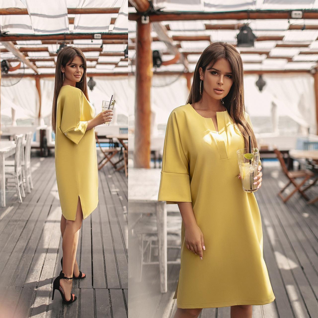 Женское платье с рукавом три четверти.Размеры:48-58.+Цвета