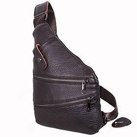 Кожаная сумка мужская мессенджер из кожи через плечо коричневая Dovhani R1901BROWN-11 кожа 29х21см