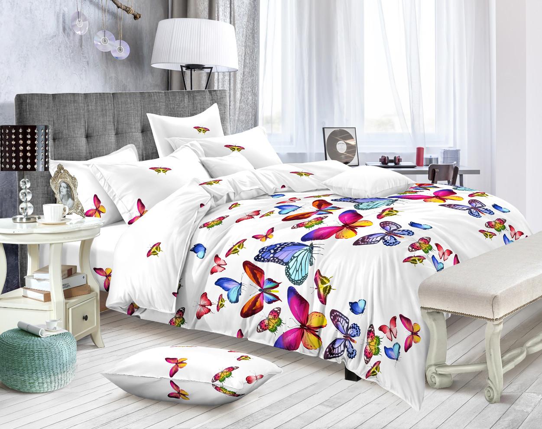 """Двуспальный комплект постельного белья """"Бабочки"""" из полисатина"""