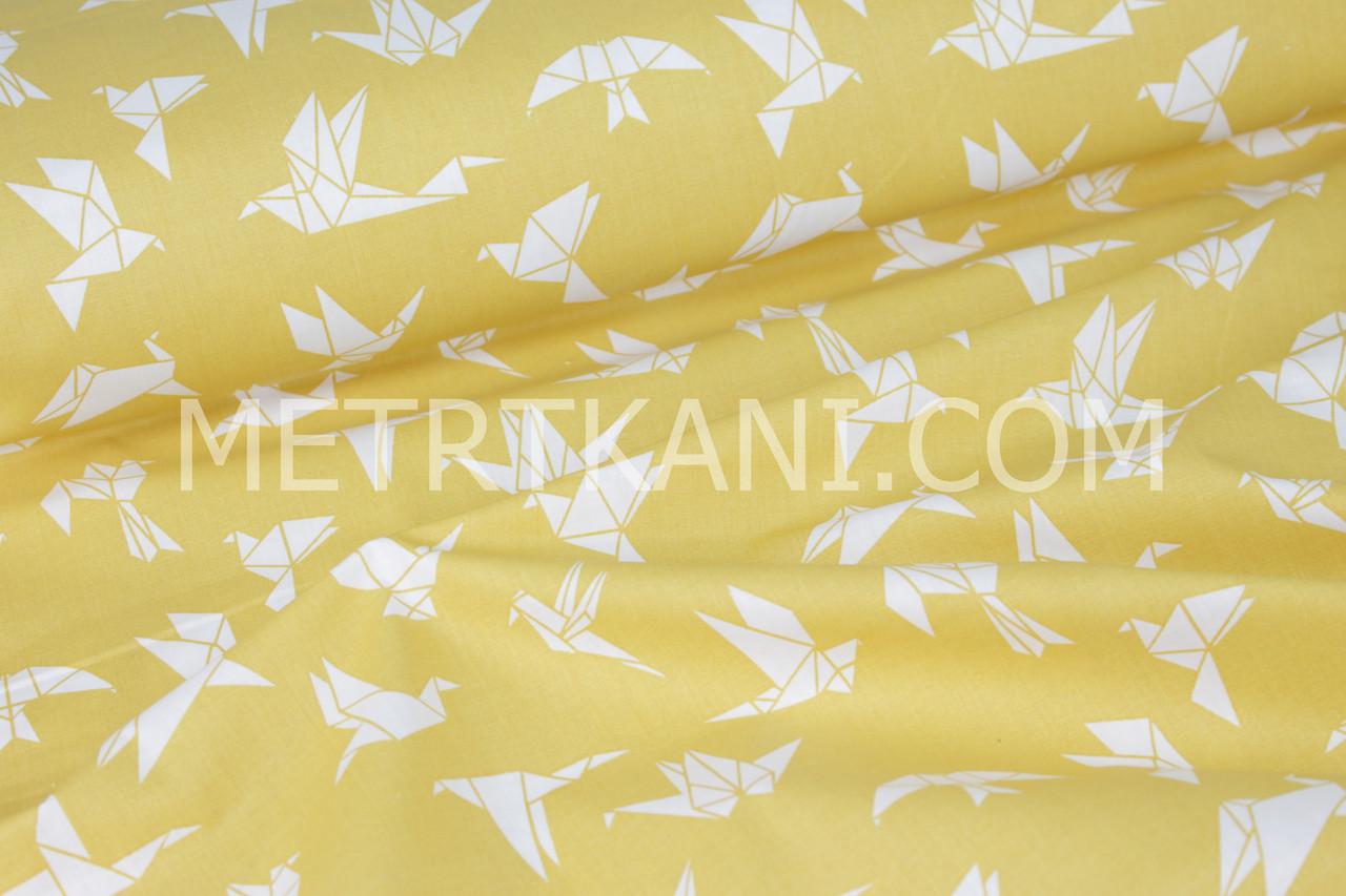 "Хлопковая ткань  ""Оригами "" белого цвета на желтом фоне №1586"