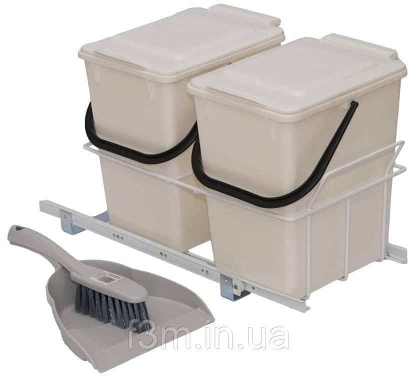 Система для отходов F3M: 2 Ведра СЕРЫХ на роликовых направляющих + совок и щётка, 300×510×320 мм