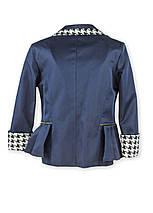 Пиджак школьный с оригинальной окантовкой воротника, бантом, размер 122,128,134,140,146, синий, черный, фото 3