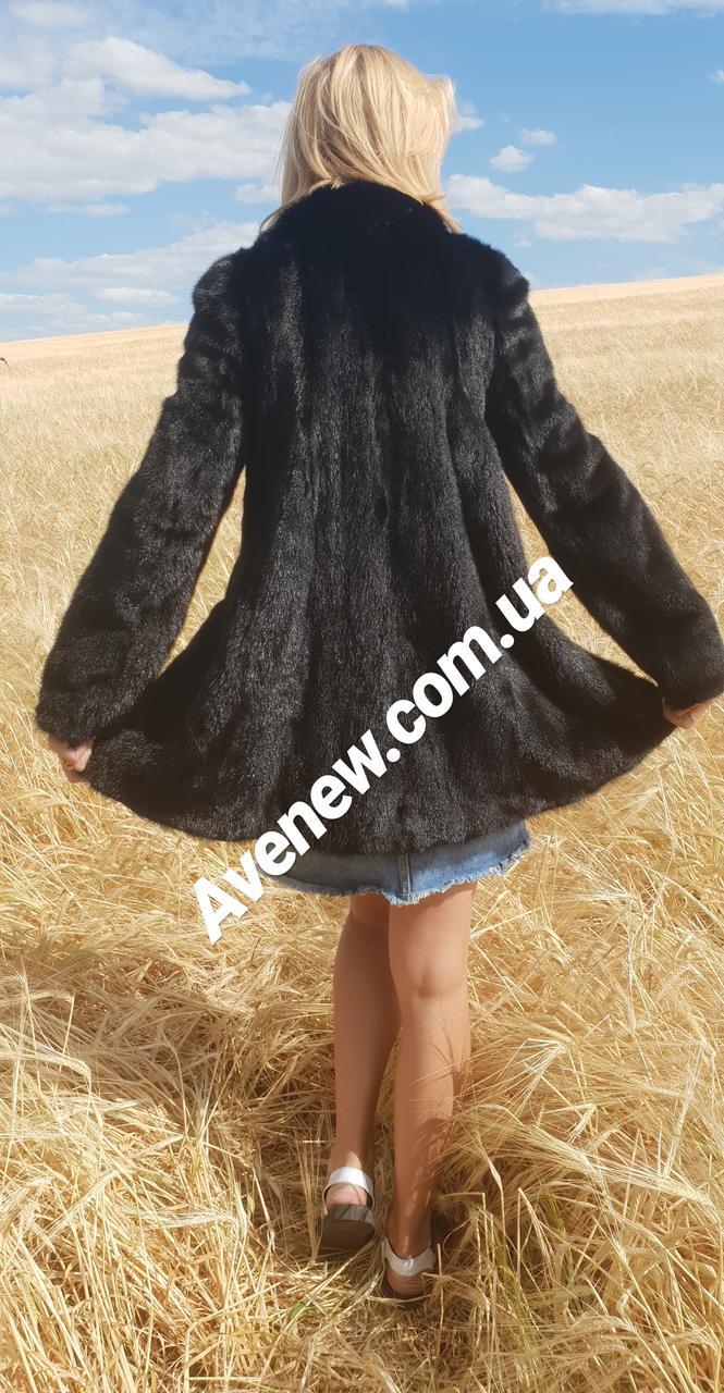 Женская черная норковая шубка
