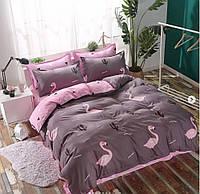 Постельное белье сатин Розовый фламинго