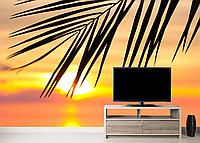 Глянцевые фотообои листья пальмы разные текстуры , индивидуальный размер