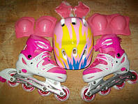 Ролики роликовые коньки с защитой шлемом безшумные раздвижные, фото 1