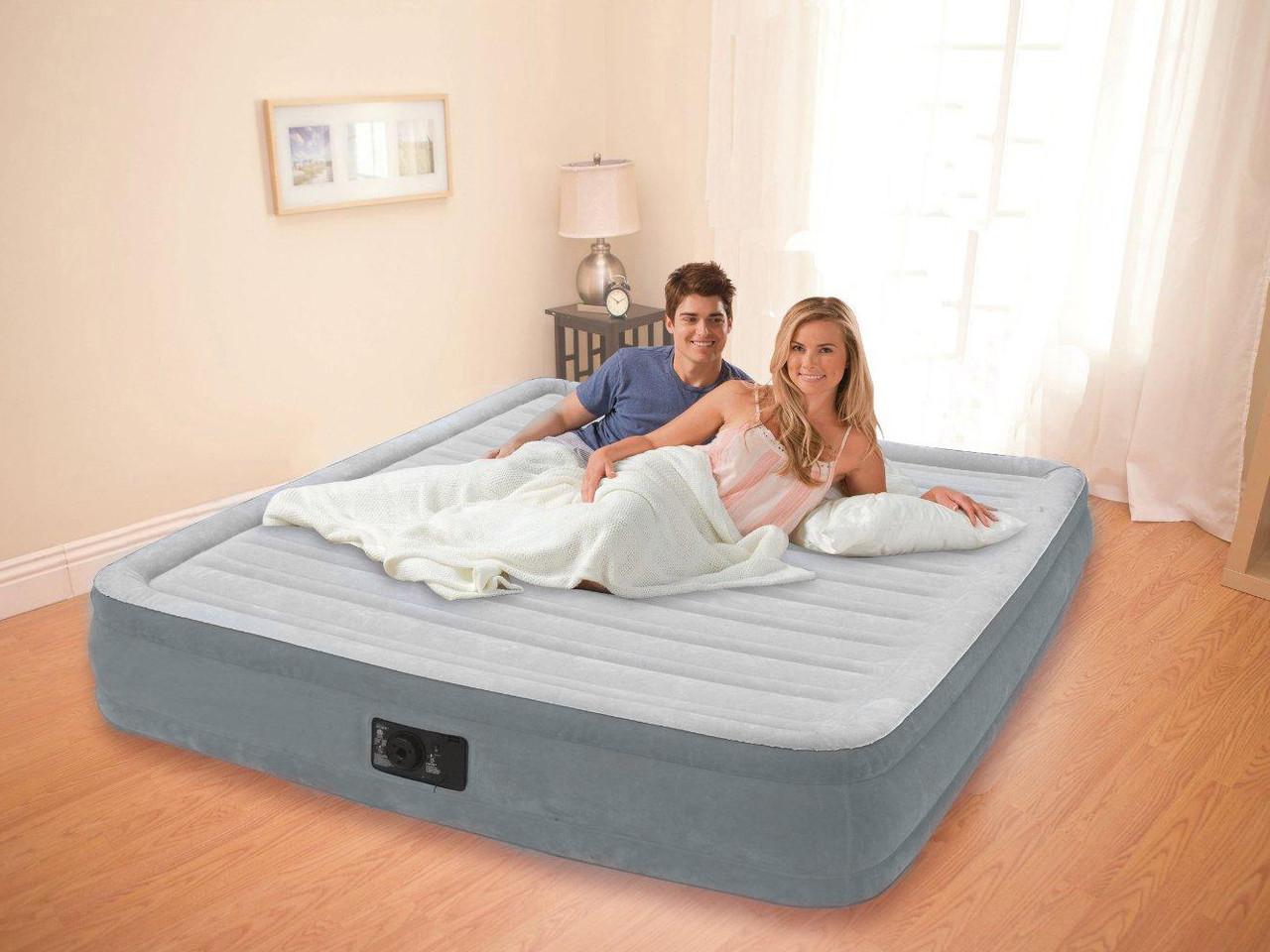 Надувная кровать, двухспальная, двухместная, с электронасосом, intex, 203x152x33см, оригинал, качественная