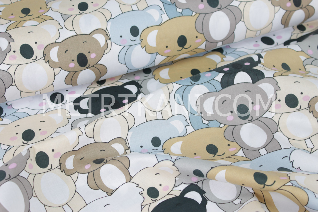 """Бавовняна тканина """"Коали"""" сіро-коричневі та чорні на білому тлі №1593"""
