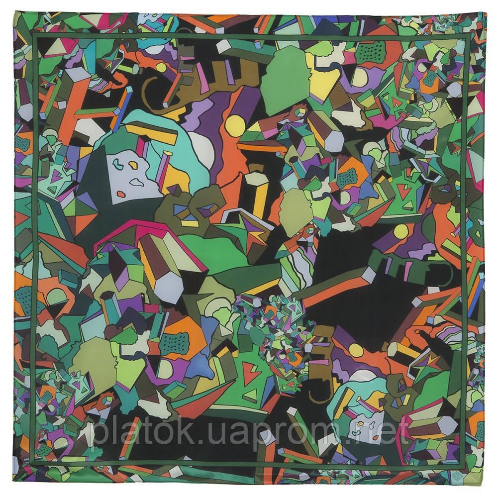 В лабиринте снов 10061-10, павлопосадский платок (крепдешин) шелковый с подрубкой