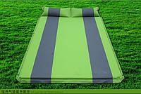 Самонадувной каремат, двухместный, с надувным подголовником, подушкой, широкий, качественный, непромокаемый