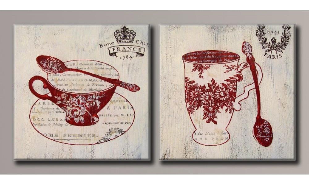 Модульная картина Чашечки чая 40х82,5 см (HAD-021)