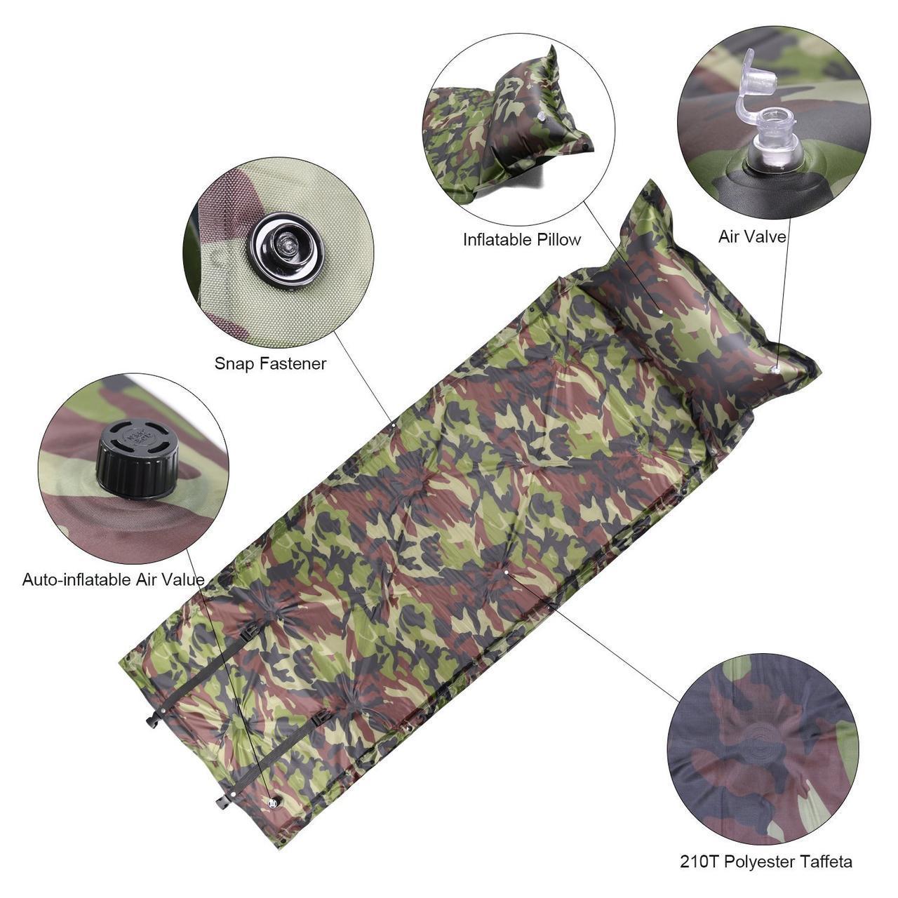 Коврик, каремат, туристический, с подушкой, комуфляжный, военный, рыбацкий, самонадувной, 190х85см