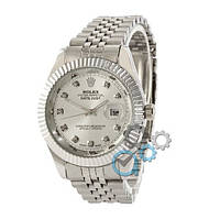 Часы Женские Ролекс, Серебристый браслет Белый цф \  Срiбло \Жіночі часи Годинник  ГАРАНТИЯ