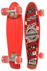 Скейт (пенни борд) Penny board со светящимися колесами КРАСНЫЙ АБСТРАКЦИЯ арт. 0749-1