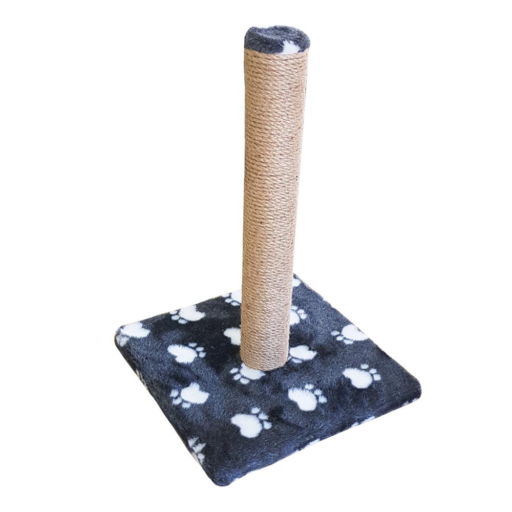 Когтеточка-столбик на подставке, мех с лапкой, джутовая 30х30х45см
