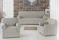 Набор чехлов на трёхместный диван и 2 кресла Karna MILANO (светло-серый)