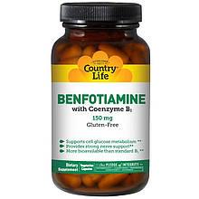 """Бенфотиамин с Коэнзимом B1 Country Life """"Benfotiamine with Coenzyme B1"""" 150 мг (60 капсул)"""