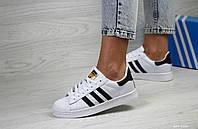 Кросівки жіночі  в стилі   Adidas Superstar білі з чорним