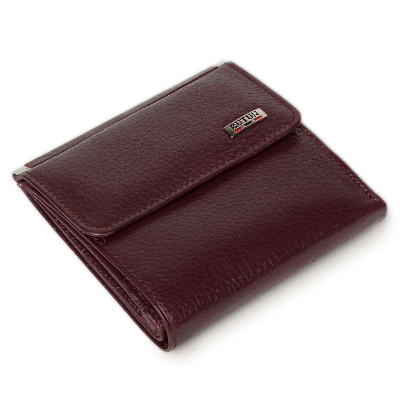 Маленький женский кошелек Butun 590-004-002 кожаный бордовый
