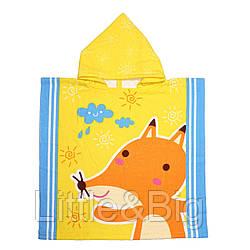 Полотенце пончо детское, желтое. Лисенок. Микрофибра.