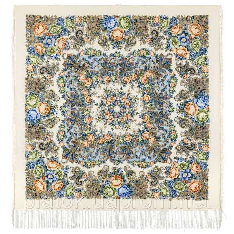 Любушка-голубушка 1824-0, павлопосадский платок шерстяной с шелковой бахромой