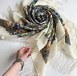 Любушка-голубушка 1824-0, павлопосадский платок шерстяной с шелковой бахромой, фото 3