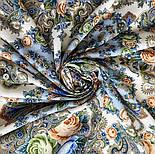 Любушка-голубушка 1824-0, павлопосадский платок шерстяной с шелковой бахромой, фото 6