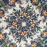 Любушка-голубушка 1824-0, павлопосадский платок шерстяной с шелковой бахромой, фото 8