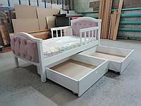 Ліжко дитяче з м`якою спинкою, ліжко дерев`яне з шухлядами